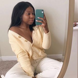 Pastel yellow knitted cardigan